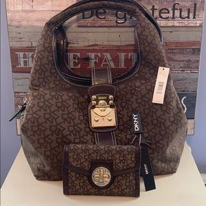 DKNY Dark Brown Bag with matching wallet